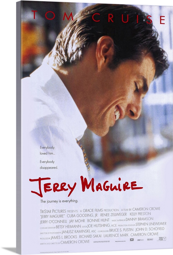 Large Gallery-Wrapped Canvas Wall Art Print 16 x 24 entitled Jerry Maguire (1996) Gallery-Wrapped Canvas entitled Jerry Maguire 1996.  Romantic sports comedy focuses on the off-field action and makes an agent the good guy. Risky business in an era of strikes lockouts and astronomical salaries but writerdirector Crowe manages to pull it off. Cruise is well-used as the title character in the story of a shark-like sports agent who sees the error of his ways and transforms into...a more moral sports agent. Somewhat regretting his momentary twinge of honor which gets him fired from his ultra-huge agency he allies himself with his obnoxious and least important client Rod Tidwell Gooding Jr. as well as Dorothy an adoring young accountant Zellweger with a lovable young son Lipnicki making a strong bid for Culkin-like stardom. Famously well-researched film sports great dialogue talented leads great supporting cast and a mega-star currently riding a wave of 100-million-plus films talk about Show me the money. Pop culture bonus points for coining 1996s most memorable catch phrase which Crowe took from real life ex-Phoenix Cardinal Tim McDonald and is now being used to sell everything from magazines to t-shirts.  Multiple sizes available.  Primary colors within this image include Dark Red Brown Black White.  Made in USA.  All products come with a 365 day workmanship guarantee.  Archival-quality UV-resistant inks.  Museum-quality artist-grade canvas mounted on sturdy wooden stretcher bars 1.5 thick.  Comes ready to hang.  Canvas is a 65 polyester 35 cotton base with two acrylic latex primer basecoats and a semi-gloss inkjet receptive topcoat.