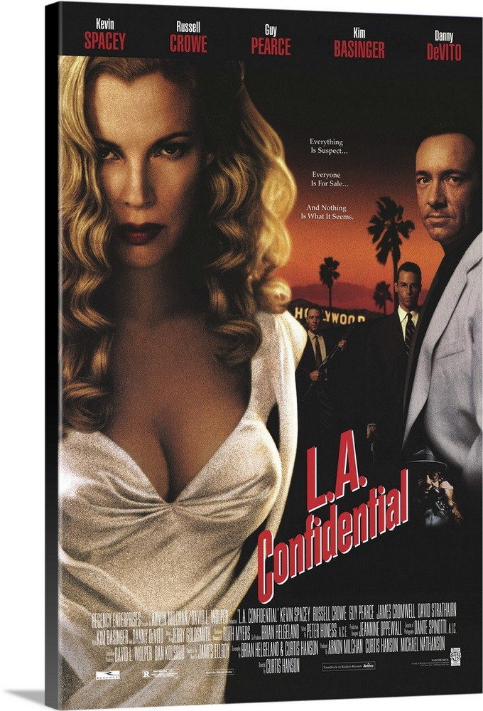 Large Solid-Faced Canvas Print Wall Art Print 20 x 30 entitled L.A. Confidential (1997) Solid-Faced Canvas Print entitled L.A. Confidential 1997.  Hard-boiled, complicated crime drama based on James Ellroys even more complex novel. Fifties Hollywood is ripe with corruption in many forms--politics, police, business, gangsters, racial tensions, and journalistic sleaze in the persona of Sid Hudgens DeVito, editor of tabloid rag Hush-Hush. Sids police contact is celebrity Sgt. Jack Vincennes Spacey, who serves as an advisor to a TV cop show think Dragnet. Theres a bloodbath murder case that involves brutal-yet-tender cop Bud White Crowe the ruthlessly ambitious, college-educated neophyte Ed Exley Pearce and their veteran boss, Capt. Dudley Smith Cromwell. Theres also wealthy pimpbusinessman Pierce Patchett Strathairn and his movie-star look-alike hookers, including world-weary Lynn Basinger, who gets involved with Bud, who... Well, lets just say that Hanson does a masterful job tying up all the loose ends and still leaving you wanting more.  Multiple sizes available.  Primary colors within this image include Dark Red, Dark Gray, Light Gray, White.  Made in the USA.  Satisfaction guaranteed.  Inks used are latex-based and designed to last.  Canvas is handcrafted and made-to-order in the United States using high quality artist-grade canvas.  Featuring a proprietary design, our canvases produce the tightest corners without any bubbles, ripples, or bumps and will not warp or sag over time.