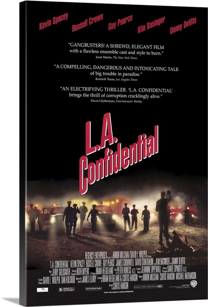 Large Solid-Faced Canvas Print Wall Art Print 20 x 30 entitled L.A. Confidential (1997) Solid-Faced Canvas Print entitled L.A. Confidential 1997.  Hard-boiled, complicated crime drama based on James Ellroys even more complex novel. Fifties Hollywood is ripe with corruption in many forms--politics, police, business, gangsters, racial tensions, and journalistic sleaze in the persona of Sid Hudgens DeVito, editor of tabloid rag Hush-Hush. Sids police contact is celebrity Sgt. Jack Vincennes Spacey, who serves as an advisor to a TV cop show think Dragnet. Theres a bloodbath murder case that involves brutal-yet-tender cop Bud White Crowe the ruthlessly ambitious, college-educated neophyte Ed Exley Pearce and their veteran boss, Capt. Dudley Smith Cromwell. Theres also wealthy pimpbusinessman Pierce Patchett Strathairn and his movie-star look-alike hookers, including world-weary Lynn Basinger, who gets involved with Bud, who... Well, lets just say that Hanson does a masterful job tying up all the loose ends and still leaving you wanting more.  Multiple sizes available.  Primary colors within this image include Dark Red, Black, Gray, White.  Made in USA.  All products come with a 365 day workmanship guarantee.  Inks used are latex-based and designed to last.  Featuring a proprietary design, our canvases produce the tightest corners without any bubbles, ripples, or bumps and will not warp or sag over time.  Canvas depth is 1.25 and includes a finished backing with pre-installed hanging hardware.