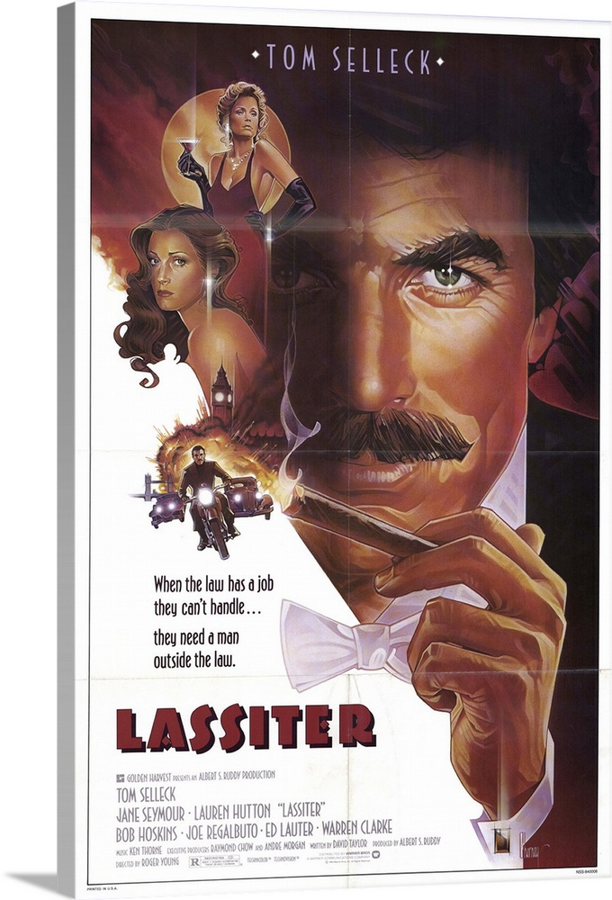 Large Solid-Faced Canvas Print Wall Art Print 20 x 30 entitled Lassiter (1984) Solid-Faced Canvas Print entitled Lassiter 1984.  Selleck plays a jewel thief who is asked to steal diamonds from the Nazis for the FBI. Supporting cast adds value to what is otherwise a fairly ordinary adventure drama.  Multiple sizes available.  Primary colors within this image include Peach, Dark Gray, White.  Made in the USA.  Satisfaction guaranteed.  Inks used are latex-based and designed to last.  Archival inks prevent fading and preserve as much fine detail as possible with no over-saturation or color shifting.  Canvas is handcrafted and made-to-order in the United States using high quality artist-grade canvas.