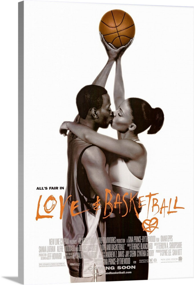 Large Solid-Faced Canvas Print Wall Art Print 20 x 30 entitled Love and Basketball (1999) Solid-Faced Canvas Print entitled Love and Basketball 1999.  Childhood friends and high school sweethearts Monica Lathan and Quincy Epps pursue their dreams of pro basketball careers and try to sort out their feelings for each other over a 12-year period. First-time director Prince-Bythewood avoids the cliches of most sports movies by removing the Big Game climax and replacing it with thoughtful character study and the understanding of the sacrifices athletes make to excel at their chosen profession. Leads Lathan and Epps are impressive.  Multiple sizes available.  Primary colors within this image include Brown, Black, Gray, White.  Made in the USA.  Satisfaction guaranteed.  Inks used are latex-based and designed to last.  Canvas is handcrafted and made-to-order in the United States using high quality artist-grade canvas.  Featuring a proprietary design, our canvases produce the tightest corners without any bubbles, ripples, or bumps and will not warp or sag over time.