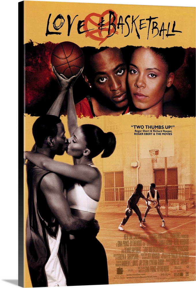 Large Solid-Faced Canvas Print Wall Art Print 20 x 30 entitled Love and Basketball (1999) Solid-Faced Canvas Print entitled Love and Basketball 1999.  Childhood friends and high school sweethearts Monica Lathan and Quincy Epps pursue their dreams of pro basketball careers and try to sort out their feelings for each other over a 12-year period. First-time director Prince-Bythewood avoids the cliches of most sports movies by removing the Big Game climax and replacing it with thoughtful character study and the understanding of the sacrifices athletes make to excel at their chosen profession. Leads Lathan and Epps are impressive.  Multiple sizes available.  Primary colors within this image include Dark Red, Peach, Black, Gray.  Made in USA.  Satisfaction guaranteed.  Inks used are latex-based and designed to last.  Featuring a proprietary design, our canvases produce the tightest corners without any bubbles, ripples, or bumps and will not warp or sag over time.  Canvas is handcrafted and made-to-order in the United States using high quality artist-grade canvas.