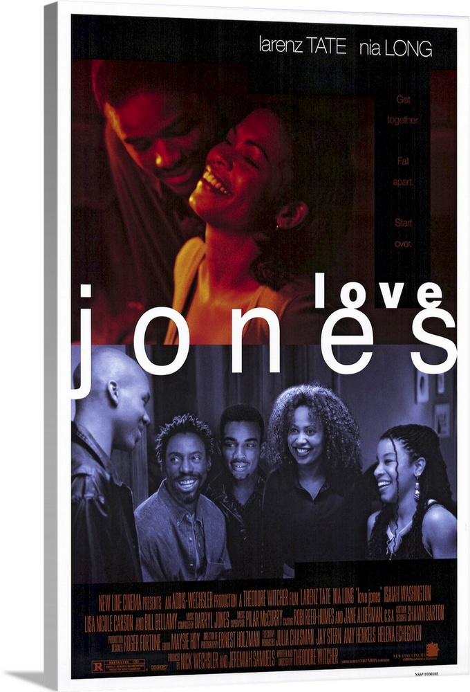 Large Solid-Faced Canvas Print Wall Art Print 20 x 30 entitled Love Jones (1997) Solid-Faced Canvas Print entitled Love Jones 1997.  A contemporary Chicago nightclub, the Sanctuary, is the gathering spot for middle-class black urbanites looking for romance. Would-be writerpoet Darius Tate spouts provocative verse to beautiful photographer Nina Long, whos not too happy with men at the moment shes just been dumped. But they make a connection, with both protesting a little too much thats it just a sex thing. Funny what happens when love clearly enters the picture. Witchers directorial debut features fine lead performances.  Multiple sizes available.  Primary colors within this image include Dark Red, Black, White, Muted Blue.  Made in USA.  Satisfaction guaranteed.  Inks used are latex-based and designed to last.  Canvas is handcrafted and made-to-order in the United States using high quality artist-grade canvas.  Featuring a proprietary design, our canvases produce the tightest corners without any bubbles, ripples, or bumps and will not warp or sag over time.