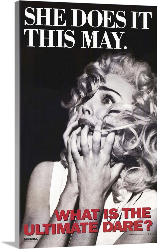Large Gallery-Wrapped Canvas Wall Art Print 16 x 24 entitled Madonna Truth or Dare (1991) Gallery-Wrapped Canvas entitled Madonna Truth or Dare 1991.  A quasi-concert-documentary--here is music superstar Madonna tarted up in fact fiction and fantasy--exhibitionism to the nth power. Tacky self-consciousand ultimately if you are a Madonna fan moving. On camera Madonna stings ex-boyfriend Warren Beatty disses admirer Kevin Costner quarrels with her father reminisces and does sexy things with a bottle. Oh yes she occasionally sings and dances. Both those who worship and dislike the Material Girl will find much to pick apart here.  Multiple sizes available.  Primary colors within this image include Dark Red Black Gray White.  Made in the USA.  Satisfaction guaranteed.  Archival-quality UV-resistant inks.  Canvas frames are built with farmed or reclaimed domestic pine or poplar wood.  Canvases have a UVB protection built in to protect against fading and moisture and are designed to last for over 100 years.