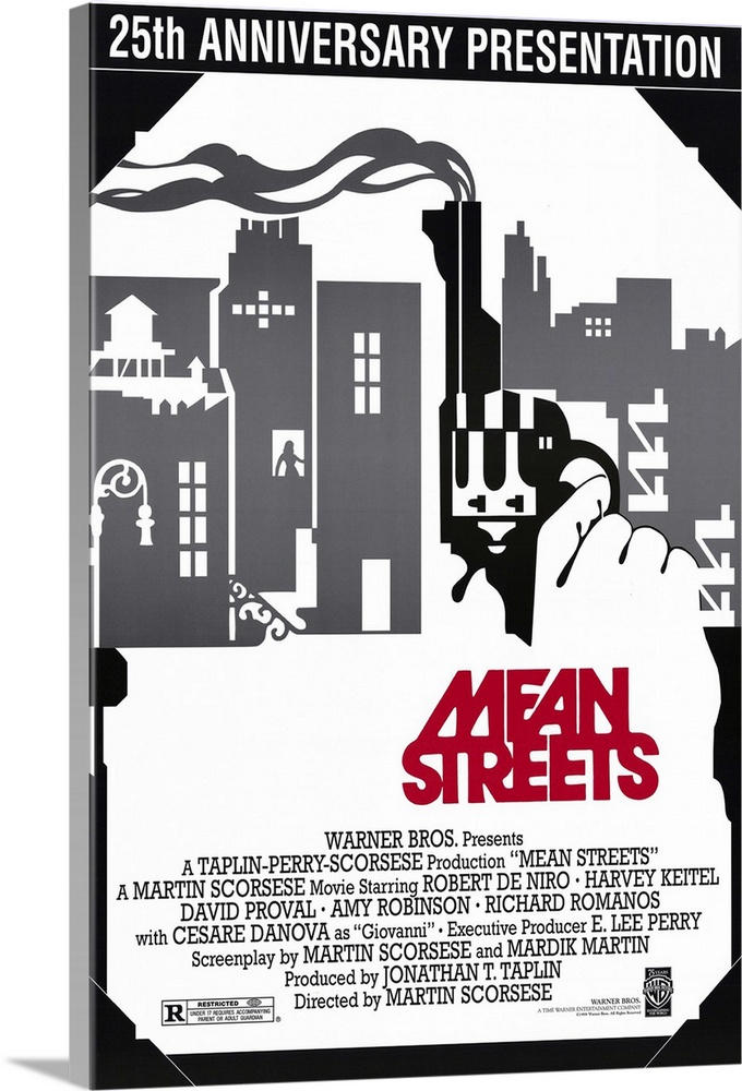 Large Gallery-Wrapped Canvas Wall Art Print 16 x 24 entitled Mean Streets (1973) Gallery-Wrapped Canvas entitled Mean Streets 1973.  A grimy slice of street life in Little Italy among lower echelon Mafiosos unbalanced punks and petty criminals. Charlie Keitel the nephew of mob boss Giovanni Danova struggles to keep his crazy friend Johnny Boy De Niro out of serious trouble. A riveting free-form feature film marking the formal debut by Scorsese five years earlier he had completed a student film Whos That Knocking At My Door. Unorthodox camera movement and gritty performances by De Niro and Keitel with underlying Catholic guilt providing the moral conflict. Excellent early 60s soundtrack.  Multiple sizes available.  Primary colors within this image include Dark Red Black Gray White.  Made in USA.  Satisfaction guaranteed.  Archival-quality UV-resistant inks.  Canvas frames are built with farmed or reclaimed domestic pine or poplar wood.  Canvas is designed to prevent fading.