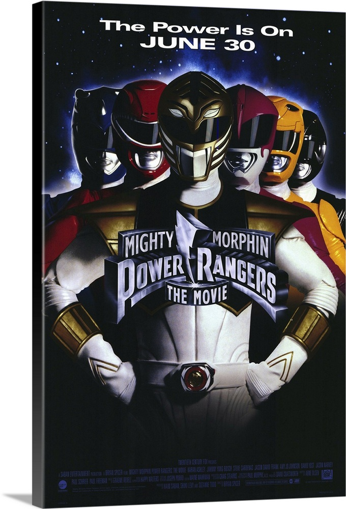Large Solid-Faced Canvas Print Wall Art Print 20 x 30 entitled Mighty Morphin Power Rangers: The Movie (1995) Solid-Faced Canvas Print entitled Mighty Morphin Power Rangers The Movie 1995.  From the living room onto the big screen, these six surburban teenagers with super powers battle the evil Ivan Ooze to save Earth. Offers more special effects, new Zord animals, more ooze and more growth to the retail toy industry than the small screen could provide. A childs dream come true, but a parents nightmare.  Multiple sizes available.  Primary colors within this image include Orange, Black, White, Muted Blue.  Made in the USA.  Satisfaction guaranteed.  Archival-quality UV-resistant inks.  Canvas depth is 1.25 and includes a finished backing with pre-installed hanging hardware.  Canvas is handcrafted and made-to-order in the United States using high quality artist-grade canvas.