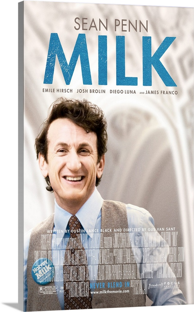 Large Gallery-Wrapped Canvas Wall Art Print 15 x 24 entitled Milk (2008) Gallery-Wrapped Canvas entitled Milk 2008.  Using flashbacks from a statement recorded late in life and archival footage for atmosphere this film traces Harvey Milks career from his 40th birthday to his death. He leaves the closet and New York opens a camera shop that becomes the salon for San Franciscos growing gay community and organizes gays purchasing power to build political alliances. He runs for office with lover Scott Smith as his campaign manager. Victory finally comes on the same day Dan White wins in the citys conservative district. The rest of the film sketches Milks relationship with White and the 1978 fight against a statewide initiative to bar gays and their supporters from public school jobs.  Multiple sizes available.  Primary colors within this image include Black Gray White Gray Blue.  Made in USA.  Satisfaction guaranteed.  Inks used are latex-based and designed to last.  Canvases have a UVB protection built in to protect against fading and moisture and are designed to last for over 100 years.  Canvas is acid-free and 20 millimeters thick.