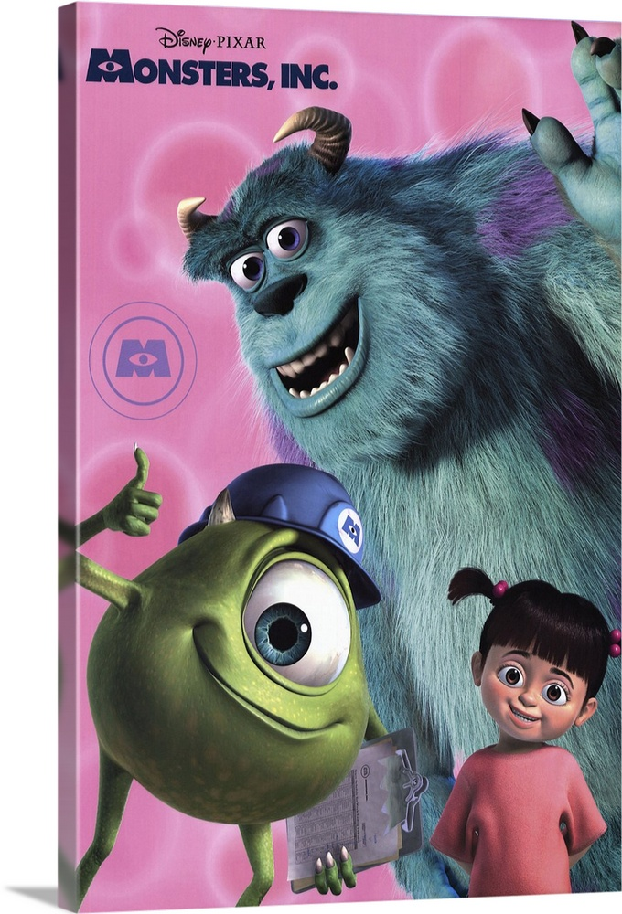 Large Solid-Faced Canvas Print Wall Art Print 20 x 30 entitled Monsters, Inc. (2001) Solid-Faced Canvas Print entitled Monsters, Inc. 2001.  Sweet-natured animated film from Pixar thats geared more towards the younger end of the family spectrum than films like Toy Story. Monstropolis is a town that is powered by the screams of children, which are captured in tanks thanks to scarers who invade the kids bedrooms via their closet doors. Sulley Goodman is the best there is, with the help of buddy Mike Crystal, but he has a problem when human toddler Boo Gibbs accidentally gets loose in monster town, which is a big no-no, and Sulley has to get her safely home. Theres also some sinister goings-on at a company level causing problems for our boys. Very colorful and more silly than scary whats scary is the familiar toddler behavior.  Multiple sizes available.  Primary colors within this image include Light Purple, Dark Forest Green, Pale Blue, Dark Navy Blue.  Made in USA.  All products come with a 365 day workmanship guarantee.  Archival-quality UV-resistant inks.  Featuring a proprietary design, our canvases produce the tightest corners without any bubbles, ripples, or bumps and will not warp or sag over time.  Canvas is handcrafted and made-to-order in the United States using high quality artist-grade canvas.