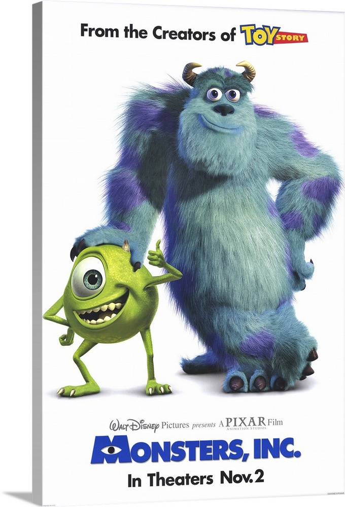 Large Solid-Faced Canvas Print Wall Art Print 20 x 30 entitled Monsters, Inc. (2001) Solid-Faced Canvas Print entitled Monsters, Inc. 2001.  Sweet-natured animated film from Pixar thats geared more towards the younger end of the family spectrum than films like Toy Story. Monstropolis is a town that is powered by the screams of children, which are captured in tanks thanks to scarers who invade the kids bedrooms via their closet doors. Sulley Goodman is the best there is, with the help of buddy Mike Crystal, but he has a problem when human toddler Boo Gibbs accidentally gets loose in monster town, which is a big no-no, and Sulley has to get her safely home. Theres also some sinister goings-on at a company level causing problems for our boys. Very colorful and more silly than scary whats scary is the familiar toddler behavior.  Multiple sizes available.  Primary colors within this image include Dark Blue, Light Yellow, White, Dark Navy Blue.  Made in the USA.  Satisfaction guaranteed.  Inks used are latex-based and designed to last.  Archival inks prevent fading and preserve as much fine detail as possible with no over-saturation or color shifting.  Featuring a proprietary design, our canvases produce the tightest corners without any bubbles, ripples, or bumps and will not warp or sag over time.
