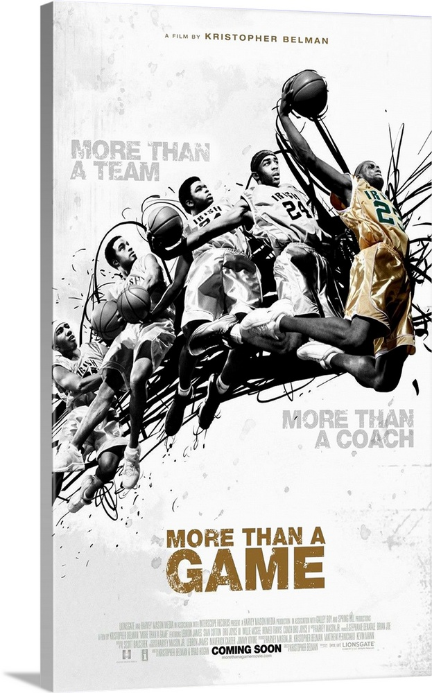 Large Gallery-Wrapped Canvas Wall Art Print 15 x 24 entitled More Than a Game (2008) Gallery-Wrapped Canvas entitled More Than a Game 2008.  This documentary follows NBA superstar LeBron James and four of his talented teammates through the trials and tribulations of high school basketball in Ohio and James journey to fame.  Multiple sizes available.  Primary colors within this image include Brown, Black, Gray, White.  Made in USA.  Satisfaction guaranteed.  Archival-quality UV-resistant inks.  Canvas frames are built with farmed or reclaimed domestic pine or poplar wood.  Museum-quality, artist-grade canvas mounted on sturdy wooden stretcher bars 1.5 thick.  Comes ready to hang.