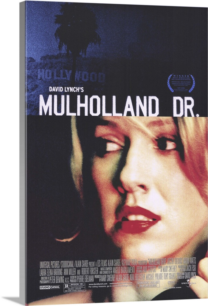 Large Gallery-Wrapped Canvas Wall Art Print 20 x 30 entitled Mulholland Drive (2001) Gallery-Wrapped Canvas entitled Mulholland Drive 2001.  David Lynch is back to his old trippy surrealistic tricks again, folks. Lush visuals and atmospheric Badalamenti music are once again the key ingredients in this hypnotic look at Hollywood through a kaleidoscope. Betty Watts, an aspiring actress staying at her aunts vacant apartment, comes home to find mystery girl Rita Harring taking a shower there. Rita, who has taken her name from a movie poster, has amnesia, and Betty tries to help her piece her life together. Meanwhile, successful young director Adam Theroux is threatened with death unless he casts a certain actress favored by a wheelchair-bound dwarf who issues orders over a cell phone. Then if you can believe it things get even weirder. Originally conceived as a pilot for ABC television, but reshot as a feature. Execs must have guessed the public wasnt ready for Laverne and Shirley Drop Acid.  Multiple sizes available.  Primary colors within this image include Pink, Dark Gray, White, Royal Blue.  Made in the USA.  Satisfaction guaranteed.  Archival-quality UV-resistant inks.  Canvas is a 65 polyester, 35 cotton base, with two acrylic latex primer basecoats and a semi-gloss inkjet receptive topcoat.  Canvas frames are built with farmed or reclaimed domestic pine or poplar wood.