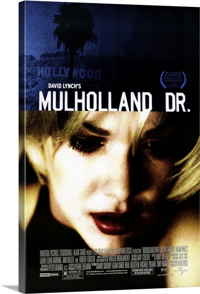 Large Gallery-Wrapped Canvas Wall Art Print 16 x 24 entitled Mulholland Drive (2001) Gallery-Wrapped Canvas entitled Mulholland Drive 2001.  David Lynch is back to his old trippy surrealistic tricks again, folks. Lush visuals and atmospheric Badalamenti music are once again the key ingredients in this hypnotic look at Hollywood through a kaleidoscope. Betty Watts, an aspiring actress staying at her aunts vacant apartment, comes home to find mystery girl Rita Harring taking a shower there. Rita, who has taken her name from a movie poster, has amnesia, and Betty tries to help her piece her life together. Meanwhile, successful young director Adam Theroux is threatened with death unless he casts a certain actress favored by a wheelchair-bound dwarf who issues orders over a cell phone. Then if you can believe it things get even weirder. Originally conceived as a pilot for ABC television, but reshot as a feature. Execs must have guessed the public wasnt ready for Laverne and Shirley Drop Acid.  Multiple sizes available.  Primary colors within this image include Brown, Dark Blue, Black, White.  Made in the USA.  All products come with a 365 day workmanship guarantee.  Archival-quality UV-resistant inks.  Canvases have a UVB protection built in to protect against fading and moisture and are designed to last for over 100 years.  Canvas frames are built with farmed or reclaimed domestic pine or poplar wood.