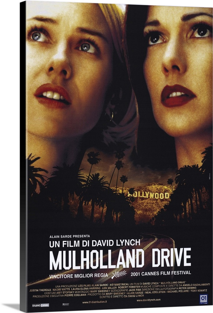 Large Gallery-Wrapped Canvas Wall Art Print 16 x 24 entitled Mulholland Drive (2001) Gallery-Wrapped Canvas entitled Mulholland Drive 2001.  David Lynch is back to his old trippy surrealistic tricks again, folks. Lush visuals and atmospheric Badalamenti music are once again the key ingredients in this hypnotic look at Hollywood through a kaleidoscope. Betty Watts, an aspiring actress staying at her aunts vacant apartment, comes home to find mystery girl Rita Harring taking a shower there. Rita, who has taken her name from a movie poster, has amnesia, and Betty tries to help her piece her life together. Meanwhile, successful young director Adam Theroux is threatened with death unless he casts a certain actress favored by a wheelchair-bound dwarf who issues orders over a cell phone. Then if you can believe it things get even weirder. Originally conceived as a pilot for ABC television, but reshot as a feature. Execs must have guessed the public wasnt ready for Laverne and Shirley Drop Acid.  Multiple sizes available.  Primary colors within this image include Dark Red, Peach, Black, White.  Made in the USA.  All products come with a 365 day workmanship guarantee.  Inks used are latex-based and designed to last.  Canvas is designed to prevent fading.  Canvas is a 65 polyester, 35 cotton base, with two acrylic latex primer basecoats and a semi-gloss inkjet receptive topcoat.