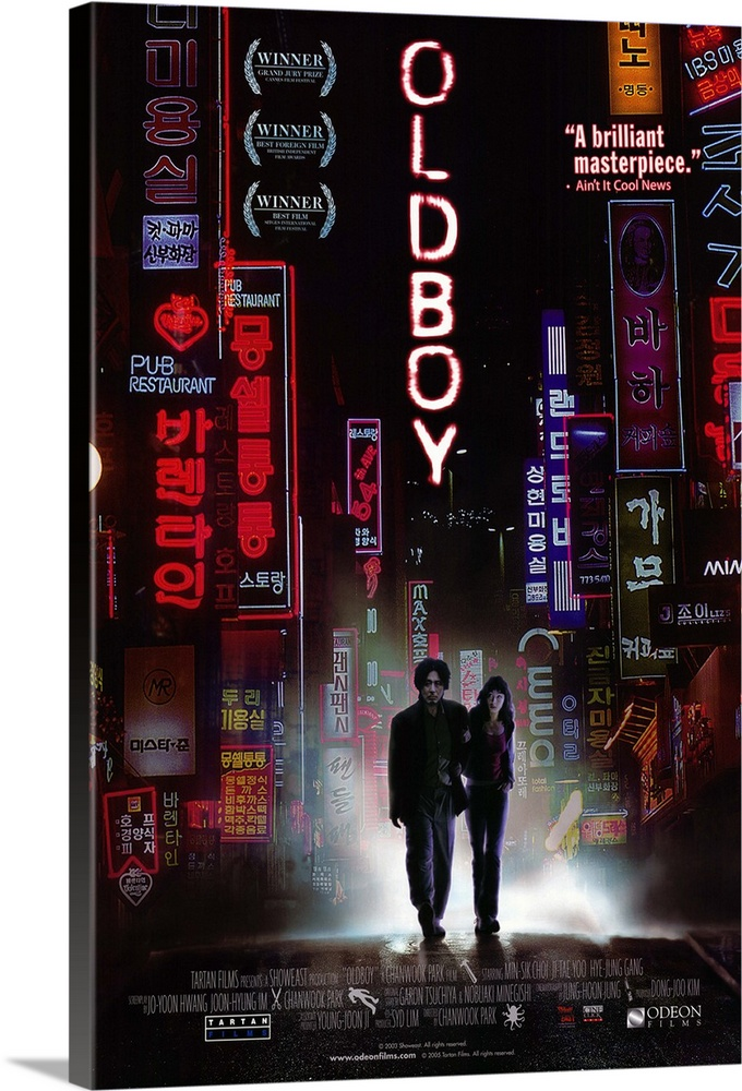 Large Gallery-Wrapped Canvas Wall Art Print 16 x 24 entitled Oldboy (2005) Gallery-Wrapped Canvas entitled Oldboy 2005.  An average man is kidnapped and imprisoned in a shabby cell for 15 years without explanation. He then is released, equipped with money, a cellphone and expensive clothes. As he strives to explain his imprisonment and get his revenge, he soon finds out that not only his kidnapper has still plans for him, but that those plans will serve as the even worse finale to 15 years of imprisonment.  Multiple sizes available.  Primary colors within this image include Yellow, Fuschia, Dark Gray, Silver.  Made in USA.  All products come with a 365 day workmanship guarantee.  Inks used are latex-based and designed to last.  Canvas frames are built with farmed or reclaimed domestic pine or poplar wood.  Canvases have a UVB protection built in to protect against fading and moisture and are designed to last for over 100 years.