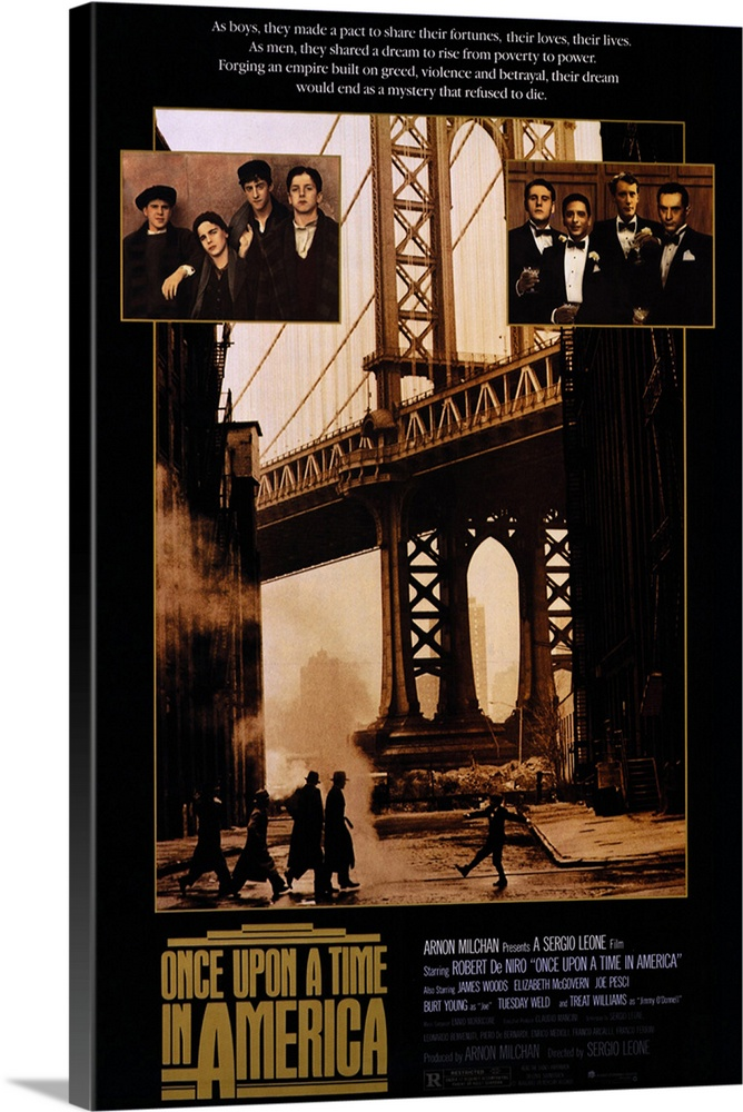 Large Solid-Faced Canvas Print Wall Art Print 20 x 30 entitled Once Upon a Time in America (1984) Solid-Faced Canvas Print entitled Once Upon a Time in America 1984.  The uncut original version of director Leones saga of five young men growing up in Brooklyn during the 20s who become powerful mob figures. Also available in a 143-minute version. Told from the perspective of De Niros Noodles as an old man looking back at 50 years of crime, love, and death, told with a sweeping and violent elegance.  Multiple sizes available.  Primary colors within this image include Brown, Black, Silver.  Made in the USA.  Satisfaction guaranteed.  Inks used are latex-based and designed to last.  Canvas is handcrafted and made-to-order in the United States using high quality artist-grade canvas.  Canvas depth is 1.25 and includes a finished backing with pre-installed hanging hardware.