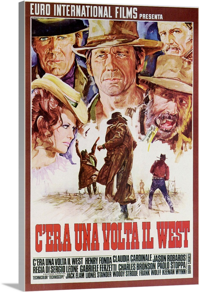 Large Solid-Faced Canvas Print Wall Art Print 20 x 30 entitled Once Upon a Time in the West (1968) Solid-Faced Canvas Print entitled Once Upon a Time in the West 1968.  The uncut version of Leones sprawling epic about a band of ruthless gunmen who set out to murder a mysterious woman waiting for the railroad to come through. Filmed in John Fords Monument Valley, its a revisionist western with some of the longest opening credits in the history of the cinema. Fonda is cast against type as an extremely cold-blooded villain. Brilliant musical score.  Multiple sizes available.  Primary colors within this image include Brown, Black, White, Muted Blue.  Made in the USA.  Satisfaction guaranteed.  Inks used are latex-based and designed to last.  Canvas is handcrafted and made-to-order in the United States using high quality artist-grade canvas.  Canvas depth is 1.25 and includes a finished backing with pre-installed hanging hardware.