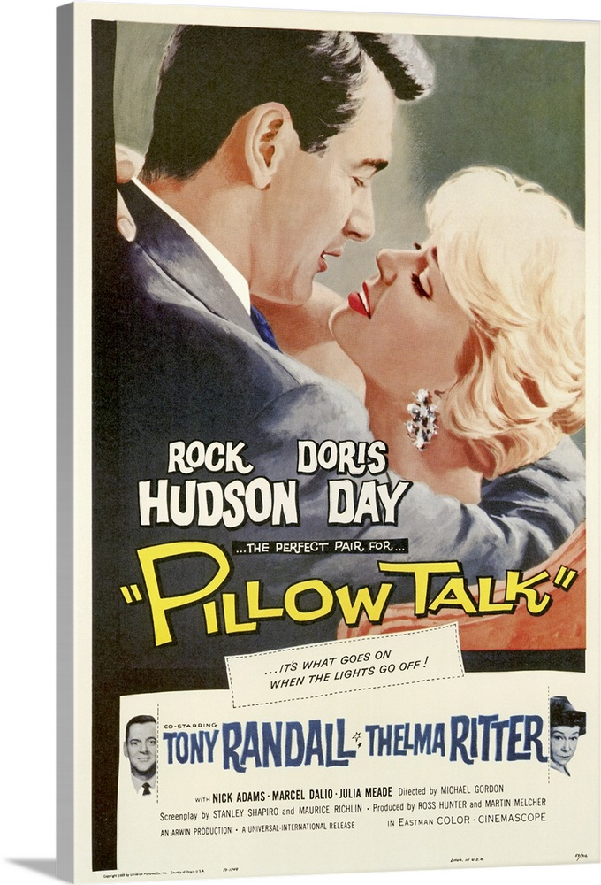 Large Gallery-Wrapped Canvas Wall Art Print 20 x 30 entitled Pillow Talk (1959) Gallery-Wrapped Canvas entitled Pillow Talk 1959.  Sex comedy in which a man woos a woman who loathes him. By the way, they share the same telephone party line. Narrative provides minimal indication of the films strengths, which are many. Classic 50s comedy with masters Day and Hudson exhibiting considerable rapport, even when fighting. Lighthearted, constantly funny.  Multiple sizes available.  Primary colors within this image include Dark Yellow, Light Yellow, Black, White.  Made in USA.  All products come with a 365 day workmanship guarantee.  Inks used are latex-based and designed to last.  Museum-quality, artist-grade canvas mounted on sturdy wooden stretcher bars 1.5 thick.  Comes ready to hang.  Canvas is acid-free and 20 millimeters thick.