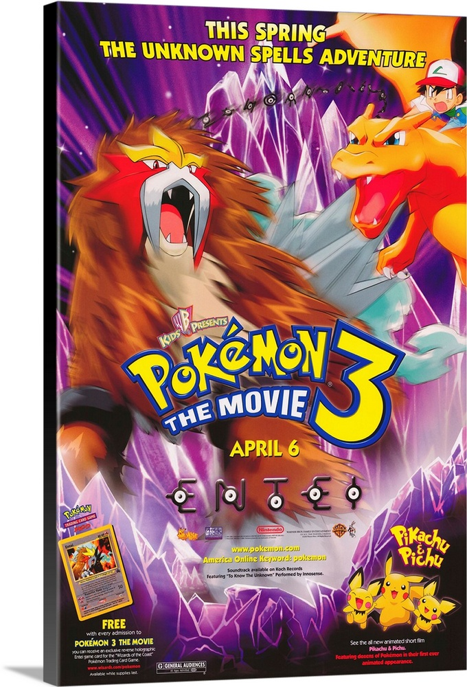 Large Solid-Faced Canvas Print Wall Art Print 20 x 30 entitled Pokemon 3: The Movie (2001) Solid-Faced Canvas Print entitled Pokemon 3 The Movie 2001.  As opposed to what, Pokemon 3 The Dinner Theater This installment of the interminable franchise has a young girl, whos father has disappeared, turning her surroundings into a land of icy crystal. Ash, Pikachu and the other Pokemon Pokemen show up to save the day with various pocket monster battles. Lessons are learned, battles are fought and won or lost, and days are saved, except for the days wasted by parents who have to sit throught it all.  Multiple sizes available.  Primary colors within this image include Red, Orange, Yellow, Dark Blue.  Made in the USA.  All products come with a 365 day workmanship guarantee.  Archival-quality UV-resistant inks.  Canvas depth is 1.25 and includes a finished backing with pre-installed hanging hardware.  Featuring a proprietary design, our canvases produce the tightest corners without any bubbles, ripples, or bumps and will not warp or sag over time.