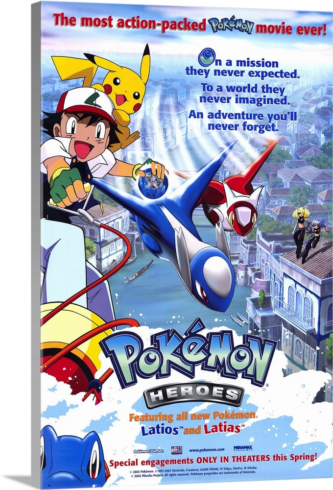 Large Solid-Faced Canvas Print Wall Art Print 20 x 30 entitled Pokemon Heroes (2003) Solid-Faced Canvas Print entitled Pokemon Heroes 2003.  Multiple sizes available.  Primary colors within this image include Yellow, Dark Red, Brown, White.  Made in the USA.  Satisfaction guaranteed.  Archival-quality UV-resistant inks.  Canvas depth is 1.25 and includes a finished backing with pre-installed hanging hardware.  Canvas is handcrafted and made-to-order in the United States using high quality artist-grade canvas.