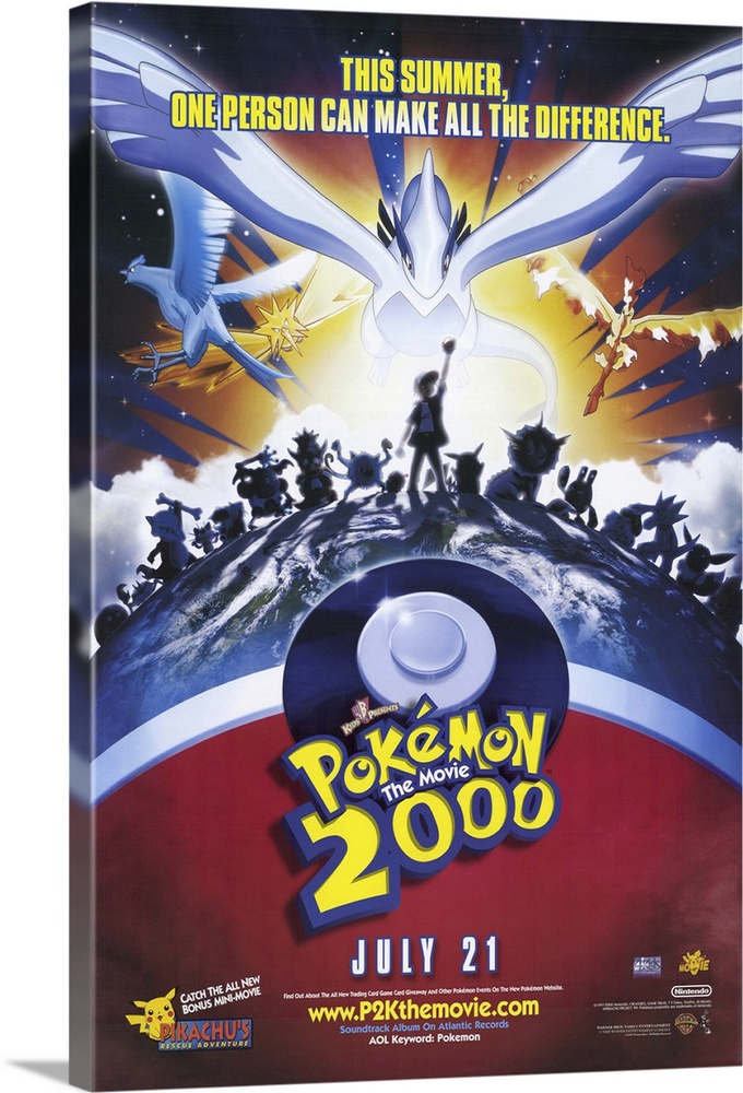 Large Gallery-Wrapped Canvas Wall Art Print 16 x 24 entitled Pokemon the Movie 2000: The Power of One (2000) Gallery-Wrapped Canvas entitled Pokemon the Movie 2000 The Power of One 2000.  As with the first Pokemon movie, considerations such as quality, plot, characterization, or dialogue do not matter. If you have kids under ten years old, you will be forced to rent or more likely buy this movie and watch it repeatedly. If you dont have any kids under ten, you most likely dont know or care what a Pokemon is anyway. If you do, for some strange reason, need to know the plot, here it is Ash must stop the Collector from capturing Pokemon. If the kiddies like the Pokemon, theyll enjoy this little exercise in media overkill.  Multiple sizes available.  Primary colors within this image include Yellow, Light Yellow, White, Dark Navy Blue.  Made in the USA.  Satisfaction guaranteed.  Inks used are latex-based and designed to last.  Canvas frames are built with farmed or reclaimed domestic pine or poplar wood.  Canvas is designed to prevent fading.