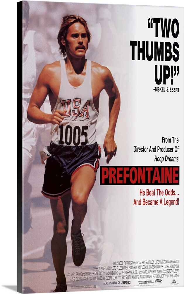 Large Gallery-Wrapped Canvas Wall Art Print 15 x 24 entitled Prefontaine (1996) Gallery-Wrapped Canvas entitled Prefontaine 1996.  Sports bio has appeal thanks to lead actor Leto in covering the brief career of early 70s runner Steve Prefontaine. Cocky and outspoken the charismatic University of Oregon star soon owns every American record for distances between 2000 and 10000 meters. Hes expected to gold at the 1972 Munich Olympics but falters thanks in part to the tragedy surrounding the games. Returning home the flamboyant Pre becomes a sports activist for athletes rights before dying in a car crash in 1975 at the age of 24. Relatively straight narrative and little psychological insight make for few lasting impressions.  Multiple sizes available.  Primary colors within this image include Dark Red Black Gray White.  Made in USA.  All products come with a 365 day workmanship guarantee.  Archival-quality UV-resistant inks.  Canvases have a UVB protection built in to protect against fading and moisture and are designed to last for over 100 years.  Canvas is designed to prevent fading.
