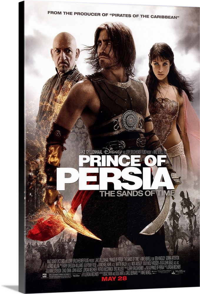 Large Solid-Faced Canvas Print Wall Art Print 20 x 30 entitled Prince of Persia: The Sands of Time (2010) Solid-Faced Canvas Print entitled Prince of Persia The Sands of Time 2010.  Set in medieval Persia, the story of an adventurous prince who teams up with a rival princess to stop an angry ruler from unleashing a sandstorm that could destroy the world. Which is why after the prince was tricked by a dying Vizier to unleash the Sands of Time that turns out to destroy a kingdom and transforms its populace into ferocious demons. In his effort to save his own kingdom and redeem his fatal mistake, its up to the prince and the princess to return the sands to the hourglass by using the Dagger of Time, which also gives him a limited control over the flow of time.  Multiple sizes available.  Primary colors within this image include Dark Red, Black, Light Gray, White.  Made in USA.  All products come with a 365 day workmanship guarantee.  Archival-quality UV-resistant inks.  Canvas is handcrafted and made-to-order in the United States using high quality artist-grade canvas.  Featuring a proprietary design, our canvases produce the tightest corners without any bubbles, ripples, or bumps and will not warp or sag over time.