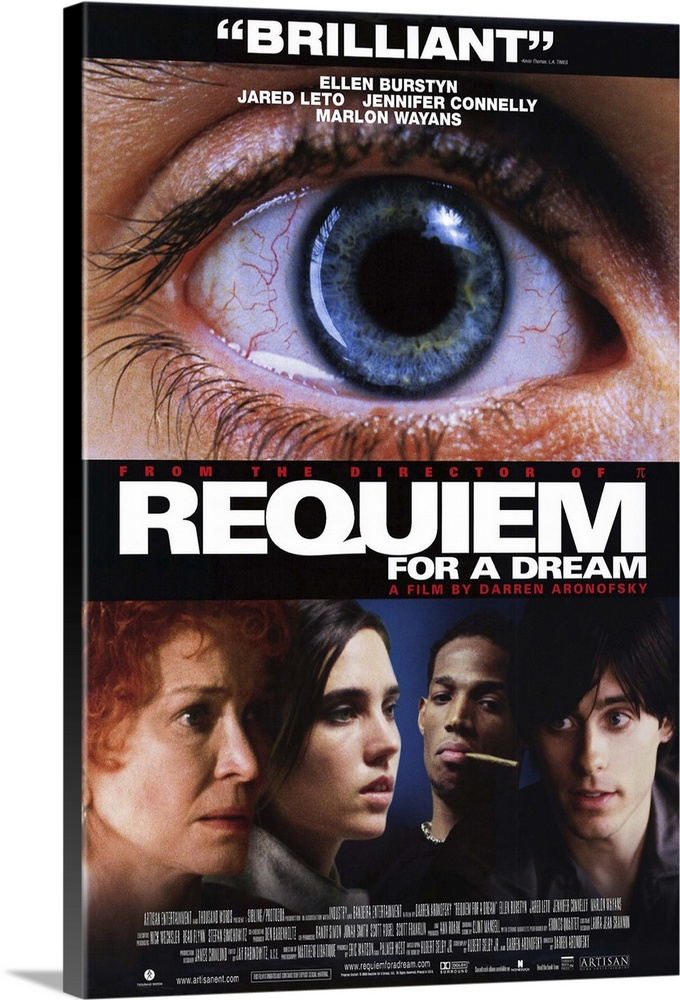 Large Gallery-Wrapped Canvas Wall Art Print 16 x 24 entitled Requiem for a Dream (2000) Gallery-Wrapped Canvas entitled Requiem for a Dream 2000.  Amazing performances from the entire cast, particularly Burstyn, propel this harrowing story of drug addiction and crumbled dreams. Harry Leto and his friend Tyrone Wayans decide to become small-time drug dealers in order to raise the cash needed to help his designer girlfriend Marion Connelly open a clothing store. Unfortunately, they begin to sample the merchandise, and their plans slip away until all they can plan is how to get the next fix. In a parallel storyline, Harrys mother Sara Burstyn receives a call that she may be a contestant on her favorite game show. She begins gobbling diet pills to improve her appearance and soon cant live without them. Director Aronofsky has stated that addiction is the hero of this movie. Based on the novel by Hubert Selby, Jr.  Multiple sizes available.  Primary colors within this image include Brown, Black, White, Muted Blue.  Made in the USA.  Satisfaction guaranteed.  Inks used are latex-based and designed to last.  Canvases have a UVB protection built in to protect against fading and moisture and are designed to last for over 100 years.  Canvases are stretched across a 1.5 inch thick wooden frame with easy-to-mount hanging hardware.