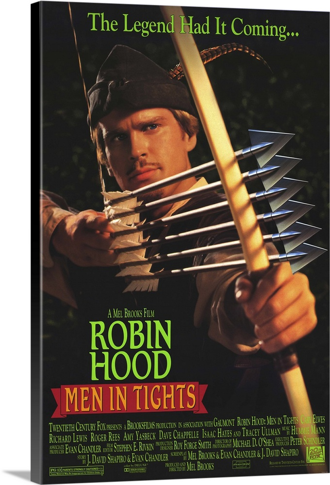 Large Gallery-Wrapped Canvas Wall Art Print 16 x 24 entitled Robin Hood: Men in Tights (1993) Gallery-Wrapped Canvas entitled Robin Hood Men in Tights 1993.  Brooksian rendition of the classic legend inspires guffaws but doesnt hit the bullseye on all it promises. Hood afficionados will appreciate the painstaking effort taken to spoof the 1938 Errol Flynn classic while leaving plenty of room to poke fun at the more recent Costner non-classic Robin Hood Prince of Thieves. Elwes last seen swinging swords in The Princess Bride is well cast as the Flynn look-alike. Expect the usual off-color humor thats so prevalent in all Brooks outings.  Multiple sizes available.  Primary colors within this image include Orange Green Light Yellow Dark Gray.  Made in the USA.  Satisfaction guaranteed.  Archival-quality UV-resistant inks.  Canvas frames are built with farmed or reclaimed domestic pine or poplar wood.  Canvases have a UVB protection built in to protect against fading and moisture and are designed to last for over 100 years.