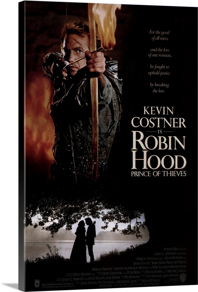 Large Gallery-Wrapped Canvas Wall Art Print 16 x 24 entitled Robin Hood Prince of Thieves (1991) Gallery-Wrapped Canvas entitled Robin Hood Prince of Thieves 1991.  Costner is the politically correct Rebel with a Cause but a thinker not a doer--and therein lies the problem. His quiet thoughtfulness doesnt add up to leadership and Rickman easily overpowers him as the wicked crazed Sheriff of Nottingham. Freeman is excellent as a civilized Moor who finds England and its people inhospitable dangerous and not a little stupid. Mastrantonio a last minute choice excels as the lovely Lady Marian. Great action sequences a gritty and morbid picture of the Middle Ages and some fun scenes with the Merry Men. Revisionist in its ideas about the times and people critics generally disapproved of the changes in the story and Costners performance though their comments about his lack of an English accent seem nitpicky in light of some basic plot problems. Still has lots of fun for lovers of action romance and fairy tales.  Multiple sizes available.  Primary colors within this image include Dark Red Black Gray Silver.  Made in USA.  All products come with a 365 day workmanship guarantee.  Archival-quality UV-resistant inks.  Canvas is a 65 polyester 35 cotton base with two acrylic latex primer basecoats and a semi-gloss inkjet receptive topcoat.  Canvas is designed to prevent fading.