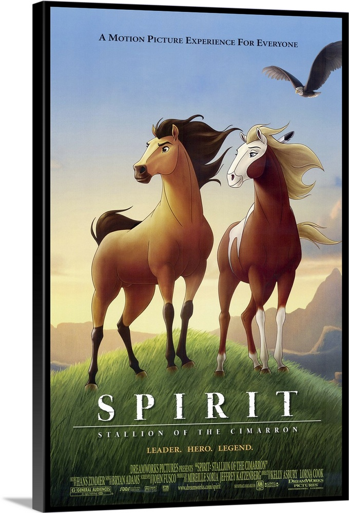 Large Solid-Faced Canvas Print Wall Art Print 20 x 30 entitled Spirit: Stallion of the Cimarron (2002) Solid-Faced Canvas Print entitled Spirit Stallion of the Cimarron 2002.  Spirit is a wild stallion and leader of his herd, who is captured and treated badly by a Cavalry Colonel Cromwell until he escapes with the help of a young Lakota brave, Little Creek Studi. Action sequences are impressive, even breathtaking, but the simplistic story and constant musical clues to the moods expressed on screen wear quickly. Combination of traditional 2-D and computer-generated 3-D elements doesnt always work, either. On the other hand, the animals dont speak except for some of Spirits thoughts in a voiceover provided by Damon, and there are no wacky sidekicks to clutter what is a pretty serious story for an animated feature.  Multiple sizes available.  Primary colors within this image include Plum, Peach, Sky Blue, Dark Forest Green.  Made in USA.  All products come with a 365 day workmanship guarantee.  Archival-quality UV-resistant inks.  Archival inks prevent fading and preserve as much fine detail as possible with no over-saturation or color shifting.  Featuring a proprietary design, our canvases produce the tightest corners without any bubbles, ripples, or bumps and will not warp or sag over time.