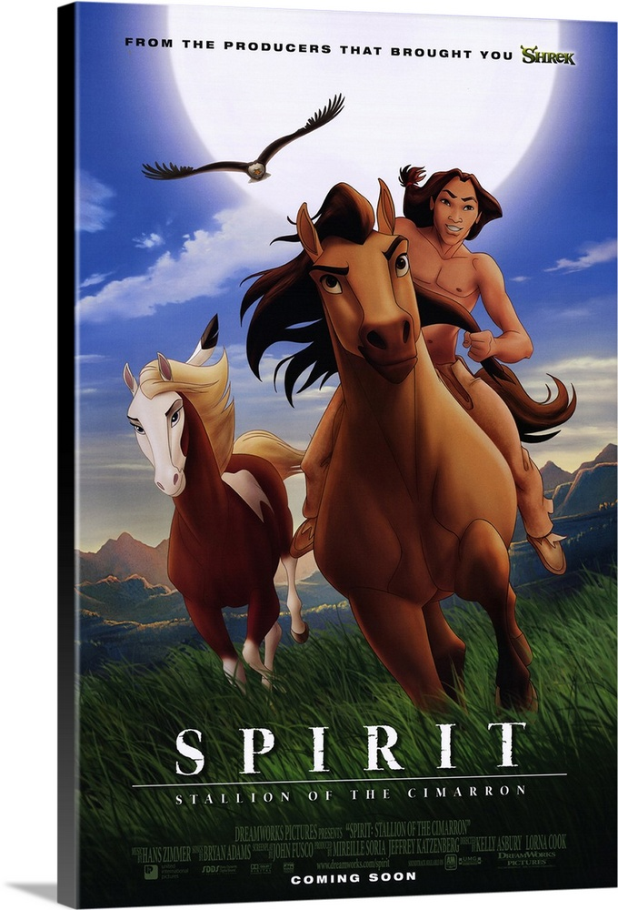 Large Solid-Faced Canvas Print Wall Art Print 20 x 30 entitled Spirit: Stallion of the Cimarron (2002) Solid-Faced Canvas Print entitled Spirit Stallion of the Cimarron 2002.  Spirit is a wild stallion and leader of his herd, who is captured and treated badly by a Cavalry Colonel Cromwell until he escapes with the help of a young Lakota brave, Little Creek Studi. Action sequences are impressive, even breathtaking, but the simplistic story and constant musical clues to the moods expressed on screen wear quickly. Combination of traditional 2-D and computer-generated 3-D elements doesnt always work, either. On the other hand, the animals dont speak except for some of Spirits thoughts in a voiceover provided by Damon, and there are no wacky sidekicks to clutter what is a pretty serious story for an animated feature.  Multiple sizes available.  Primary colors within this image include Brown, Black, White, Muted Blue.  Made in the USA.  All products come with a 365 day workmanship guarantee.  Archival-quality UV-resistant inks.  Canvas depth is 1.25 and includes a finished backing with pre-installed hanging hardware.  Featuring a proprietary design, our canvases produce the tightest corners without any bubbles, ripples, or bumps and will not warp or sag over time.