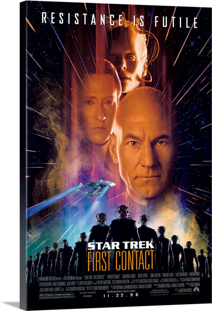 Large Solid-Faced Canvas Print Wall Art Print 20 x 30 entitled Star Trek: First Contact (1996) Solid-Faced Canvas Print entitled Star Trek First Contact 1996.  The eighth big-screen Trek saga is firmly in the hands of the Next Generation cast as Picard and the Enterprise cross paths with the Borg and their sinister Queen. Its hard to tell whether the cry Resistance is Futile is coming from the Borg, or the Trek franchise itself, as this installment may well bring in new Trekkers with its less techo-babble, more action approach and the fact that this crew can act. The Borg attempt to change history by travelling back in time to 2063 to prevent scientist Cromwell from inventing warp drive. While the less-interesting members of the crew stay on Earth to help out with the launch, the battle for the Enterprise rages on up in space. Trademark effects, humor, and idealism are in abundant supply and should please the long-time fan as well as the neophyte.  Multiple sizes available.  Primary colors within this image include Orange, Dark Blue, Black, Gray Blue.  Made in USA.  Satisfaction guaranteed.  Inks used are latex-based and designed to last.  Canvas depth is 1.25 and includes a finished backing with pre-installed hanging hardware.  Featuring a proprietary design, our canvases produce the tightest corners without any bubbles, ripples, or bumps and will not warp or sag over time.