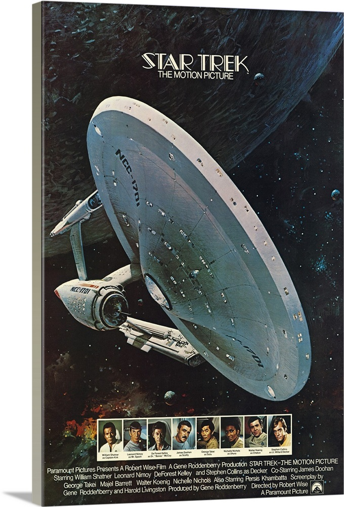 Large Solid-Faced Canvas Print Wall Art Print 20 x 30 entitled Star Trek: The Motion Picture (1979) Solid-Faced Canvas Print entitled Star Trek The Motion Picture 1979.  The Enterprise fights a strange alien force that threatens Earth in this first film adaptation of the famous TV series. Shatners Kirk has been promoted to admiral and is called to take command of the vessel. He gets his old crew to tag along as well. Very slow moving followed by numerous sequels. Twelve additional minutes of previously unseen footage have been added to this home video version of the theatrical feature.  Multiple sizes available.  Primary colors within this image include Brown, Dark Gray, White, Gray Blue.  Made in USA.  All products come with a 365 day workmanship guarantee.  Inks used are latex-based and designed to last.  Canvas depth is 1.25 and includes a finished backing with pre-installed hanging hardware.  Featuring a proprietary design, our canvases produce the tightest corners without any bubbles, ripples, or bumps and will not warp or sag over time.