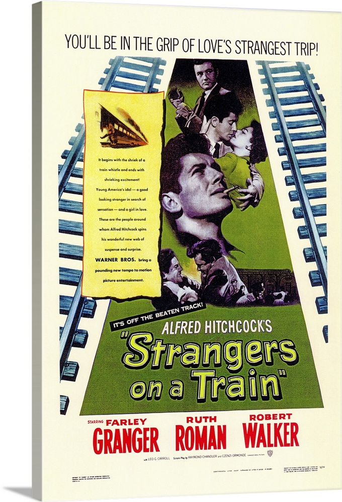 Large Gallery-Wrapped Canvas Wall Art Print 16 x 24 entitled Strangers on a Train (1951) Gallery-Wrapped Canvas entitled Strangers on a Train 1951.  Long before there was Throw Momma from the Train there was this Hitchcock super-thriller about two passengers who accidentally meet and plan to trade murders. Amoral Walker wants the exchange and the money hell inherit by his fathers death Granger would love to end his stifling marriage and wed Roman a senators daughter but finds the idea ultimately sickening. What happens is pure Hitchcock. Screenplay co-written by murder-mystery great Chandler. Patricia Hitchcock the directors only child plays Romans sister. The concluding carousel scene is a masterpiece. From the novel by Patricia Highsmith.  Multiple sizes available.  Primary colors within this image include Red Forest Green Black White.  Made in the USA.  Satisfaction guaranteed.  Inks used are latex-based and designed to last.  Canvas frames are built with farmed or reclaimed domestic pine or poplar wood.  Canvas is a 65 polyester 35 cotton base with two acrylic latex primer basecoats and a semi-gloss inkjet receptive topcoat.