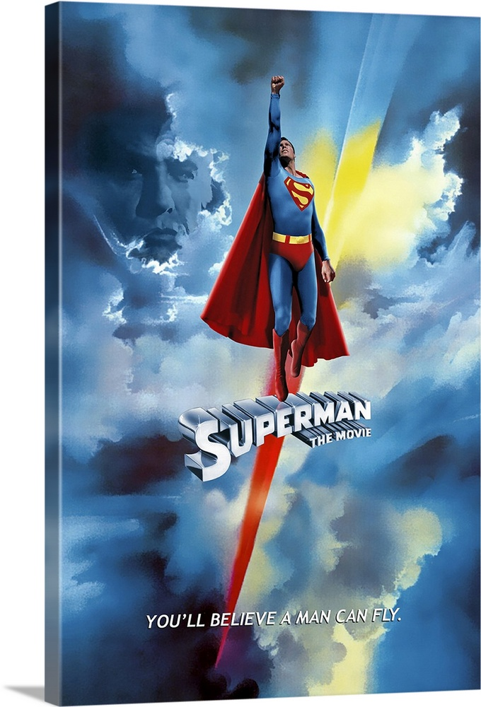 Large Solid-Faced Canvas Print Wall Art Print 20 x 30 entitled Superman: The Movie (1978) Solid-Faced Canvas Print entitled Superman The Movie 1978.  Poster for the 1978 film Superman The Movie. Superman is shown flying high into the sky with Lex Luthors face shadowed in the clouds.  Multiple sizes available.  Primary colors within this image include Red, Light Yellow, Black.  Made in the USA.  All products come with a 365 day workmanship guarantee.  Archival-quality UV-resistant inks.  Archival inks prevent fading and preserve as much fine detail as possible with no over-saturation or color shifting.  Featuring a proprietary design, our canvases produce the tightest corners without any bubbles, ripples, or bumps and will not warp or sag over time.
