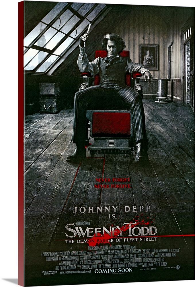 Large Solid-Faced Canvas Print Wall Art Print 20 x 30 entitled Sweeney Todd: The Demon Barber of Fleet Street (2007) Solid-Faced Canvas Print entitled Sweeney Todd The Demon Barber of Fleet Street 2007.  After hard years in exile for a crime he didnt commit, Benjamin Barker, now Sweeney Todd, returns to London to find his wife dead and his daughter in the hands of the evil Judge Turpin. In his anger, Sweeney goes on a murderous rampage on all London. With the help of Mrs. Lovett, he opens a barber shop in which he lures his victims with a charming smile before casually ending their lives with a flick of his razor across their necks. But not one man nor ten thousand men killed can satisfy Sweeneys lust for vengeance on those whove caused his years of pain.  Multiple sizes available.  Primary colors within this image include Dark Red, Black, Gray, White.  Made in the USA.  Satisfaction guaranteed.  Archival-quality UV-resistant inks.  Archival inks prevent fading and preserve as much fine detail as possible with no over-saturation or color shifting.  Featuring a proprietary design, our canvases produce the tightest corners without any bubbles, ripples, or bumps and will not warp or sag over time.
