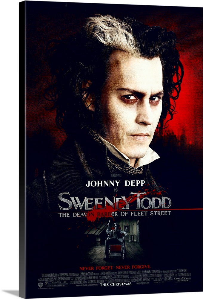 Large Solid-Faced Canvas Print Wall Art Print 20 x 30 entitled Sweeney Todd: The Demon Barber of Fleet Street (2007) Solid-Faced Canvas Print entitled Sweeney Todd The Demon Barber of Fleet Street 2007.  After hard years in exile for a crime he didnt commit, Benjamin Barker, now Sweeney Todd, returns to London to find his wife dead and his daughter in the hands of the evil Judge Turpin. In his anger, Sweeney goes on a murderous rampage on all London. With the help of Mrs. Lovett, he opens a barber shop in which he lures his victims with a charming smile before casually ending their lives with a flick of his razor across their necks. But not one man nor ten thousand men killed can satisfy Sweeneys lust for vengeance on those whove caused his years of pain.  Multiple sizes available.  Primary colors within this image include Dark Red, Black, Silver.  Made in the USA.  All products come with a 365 day workmanship guarantee.  Archival-quality UV-resistant inks.  Canvas is handcrafted and made-to-order in the United States using high quality artist-grade canvas.  Canvas depth is 1.25 and includes a finished backing with pre-installed hanging hardware.