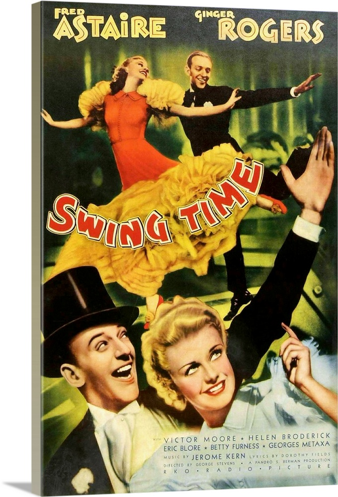 Large Solid-Faced Canvas Print Wall Art Print 20 x 30 entitled Swing Time (1936) Solid-Faced Canvas Print entitled Swing Time 1936.  Astaire, a dancer who cant resist gambling, is engaged to marry another woman, until he meets Ginger. One of the teams best efforts.  Multiple sizes available.  Primary colors within this image include Orange, Light Yellow, White, Dark Forest Green.  Made in the USA.  All products come with a 365 day workmanship guarantee.  Archival-quality UV-resistant inks.  Featuring a proprietary design, our canvases produce the tightest corners without any bubbles, ripples, or bumps and will not warp or sag over time.  Archival inks prevent fading and preserve as much fine detail as possible with no over-saturation or color shifting.