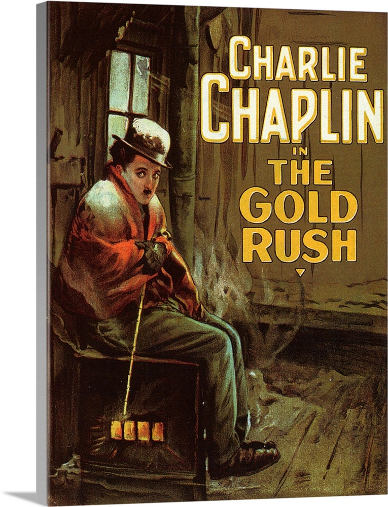 Large Solid-Faced Canvas Print Wall Art Print 30 x 40 entitled The Gold Rush (1925) Solid-Faced Canvas Print entitled The Gold Rush 1925.  Chaplins most critically acclaimed film. The best definition of his simple approach to film form adept maneuvering of visual pathos. The Little Tramp searches for gold and romance in the Klondike in the mid-1800s. Includes the dance of the rolls, pantomime sequence of eating the shoe, and Chaplins lovely music.  Multiple sizes available.  Primary colors within this image include Orange, Brown, Peach, Black.  Made in the USA.  All products come with a 365 day workmanship guarantee.  Archival-quality UV-resistant inks.  Featuring a proprietary design, our canvases produce the tightest corners without any bubbles, ripples, or bumps and will not warp or sag over time.  Canvas depth is 1.25 and includes a finished backing with pre-installed hanging hardware.