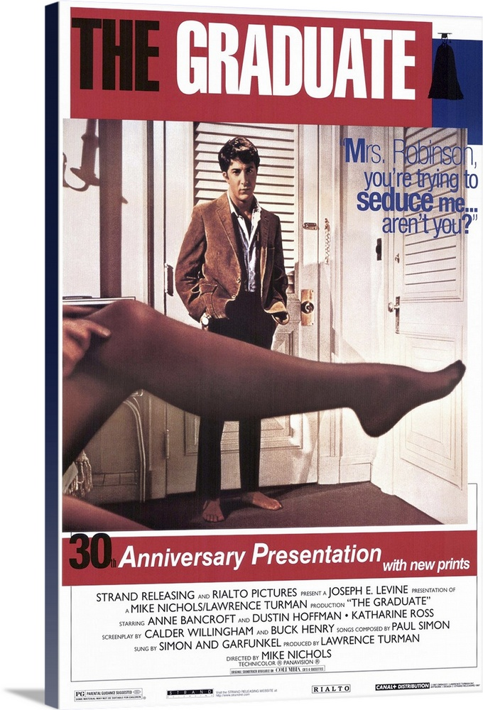 Large Gallery-Wrapped Canvas Wall Art Print 16 x 24 entitled The Graduate (1968) Gallery-Wrapped Canvas entitled The Graduate 1968.  Famous influential slice of comic Americana stars Hoffman as Benjamin Braddock a shy aimless college graduate who without any idea of responsibility or ambition wanders from a sexual liaison with a married woman the infamous Mrs. Robinson to pursuit of her engaged daughter. His pursuit of Elaine right to her wedding has become a film classic. Extremely popular and almost solely responsible for establishing both Hoffman and director Nichols. The career advice given to Benjamin plastics became a catchword for the era. Watch for Dreyfuss in the Berkeley rooming house Farrell in the hotel lobby and screenwriter Henry as the desk clerk. Based on the novel by Charles Webb.  Multiple sizes available.  Primary colors within this image include Dark Red Dark Blue Black White.  Made in the USA.  Satisfaction guaranteed.  Inks used are latex-based and designed to last.  Canvas is designed to prevent fading.  Canvas is acid-free and 20 millimeters thick.