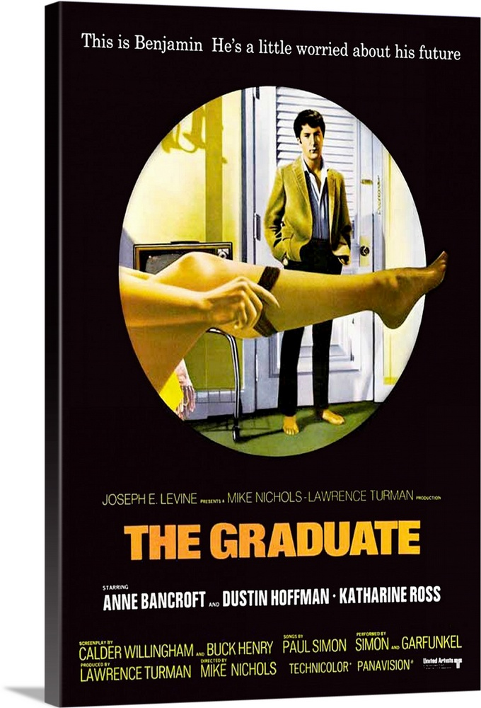 Large Gallery-Wrapped Canvas Wall Art Print 16 x 24 entitled The Graduate (1968) Gallery-Wrapped Canvas entitled The Graduate 1968.  Famous influential slice of comic Americana stars Hoffman as Benjamin Braddock a shy aimless college graduate who without any idea of responsibility or ambition wanders from a sexual liaison with a married woman the infamous Mrs. Robinson to pursuit of her engaged daughter. His pursuit of Elaine right to her wedding has become a film classic. Extremely popular and almost solely responsible for establishing both Hoffman and director Nichols. The career advice given to Benjamin plastics became a catchword for the era. Watch for Dreyfuss in the Berkeley rooming house Farrell in the hotel lobby and screenwriter Henry as the desk clerk. Based on the novel by Charles Webb.  Multiple sizes available.  Primary colors within this image include Orange Yellow Dark Gray Silver.  Made in the USA.  All products come with a 365 day workmanship guarantee.  Archival-quality UV-resistant inks.  Canvases have a UVB protection built in to protect against fading and moisture and are designed to last for over 100 years.  Museum-quality artist-grade canvas mounted on sturdy wooden stretcher bars 1.5 thick.  Comes ready to hang.
