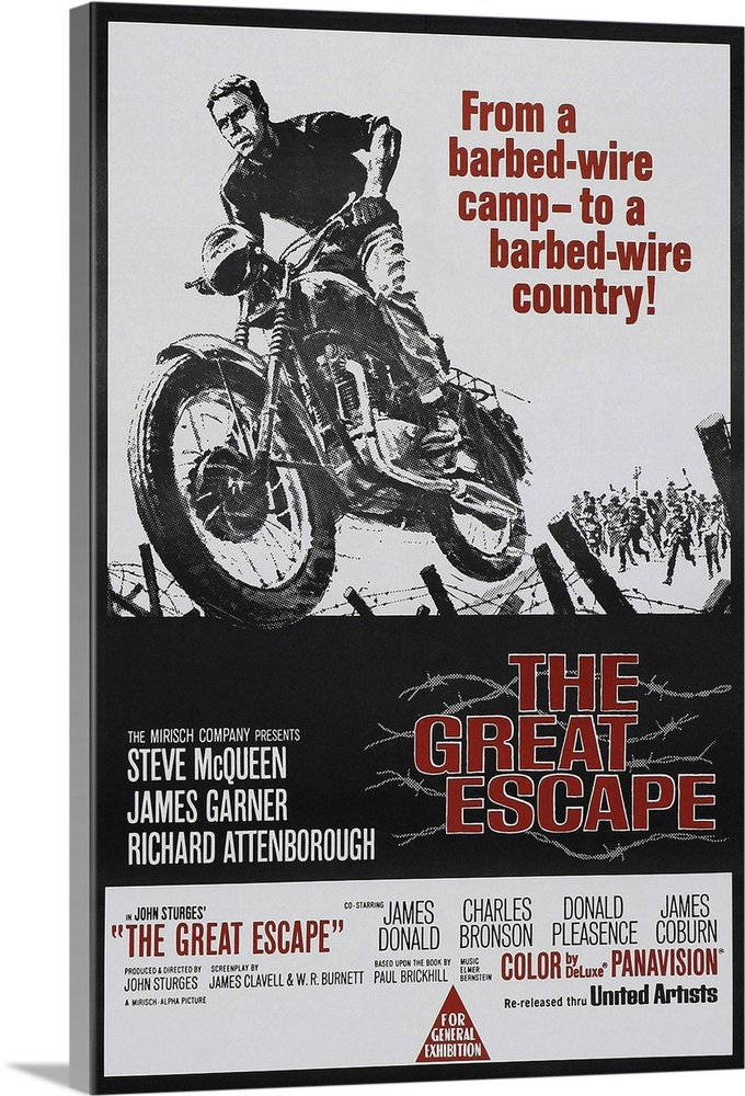 Large Solid-Faced Canvas Print Wall Art Print 24 x 36 entitled The Great Escape (1963) Solid-Faced Canvas Print entitled The Great Escape 1963.  During WWII, troublesome allied POWs are thrown by the Nazis into an escape-proof camp, where they join forces in a single mass break for freedom. One of the great war movies, with a superb ensemble cast and lots of excitement. The story was true, based on the novel by Paul Brickhill. McQueen performed most of the stunts himself, against the wishes of director Sturges. Followed by a made for TV movie 25 years later.  Multiple sizes available.  Primary colors within this image include Dark Red, Dark Gray, Gray, White.  Made in USA.  All products come with a 365 day workmanship guarantee.  Archival-quality UV-resistant inks.  Archival inks prevent fading and preserve as much fine detail as possible with no over-saturation or color shifting.  Canvas depth is 1.25 and includes a finished backing with pre-installed hanging hardware.