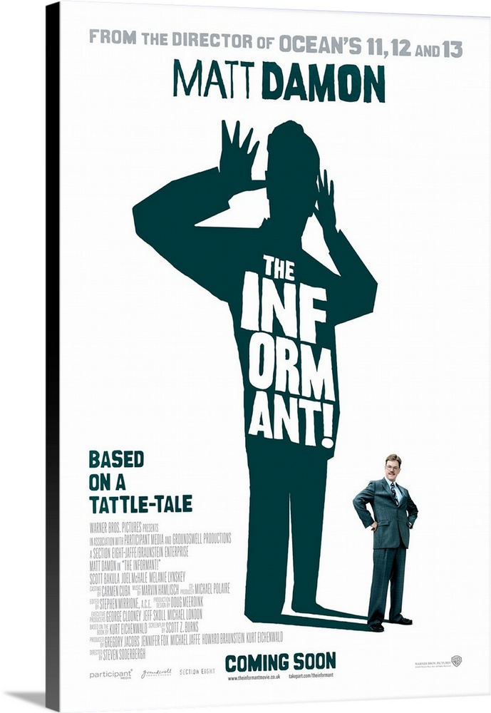 The Informant  - Movie Poster - UK  Canvas Art Print