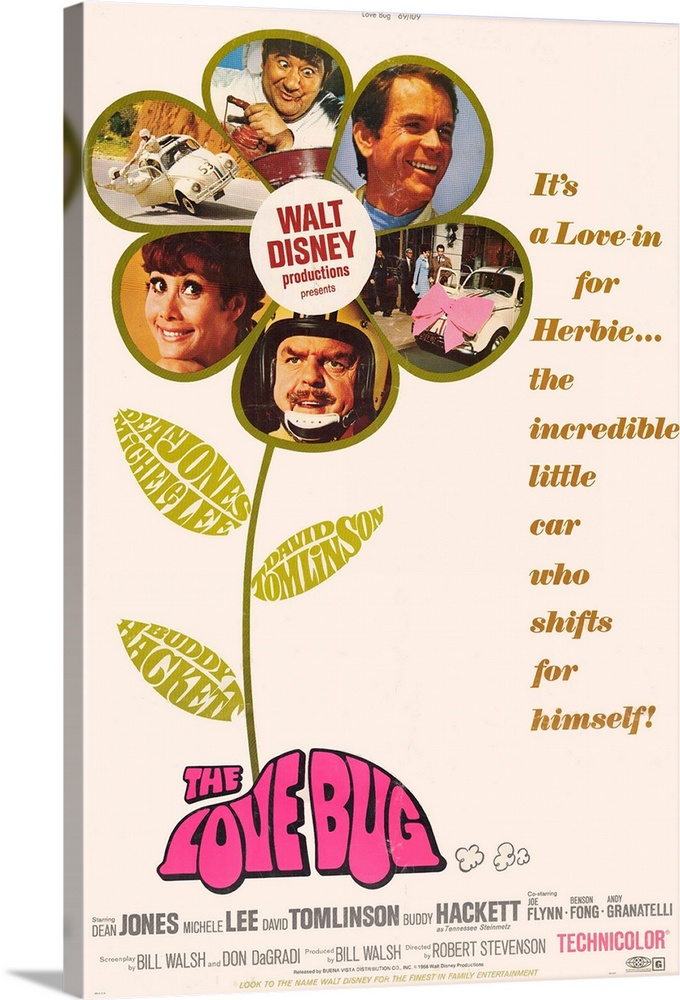 Large Solid-Faced Canvas Print Wall Art Print 20 x 30 entitled The Love Bug (1969) Solid-Faced Canvas Print entitled The Love Bug 1969.  A race car driver Jones is followed home by Herbie, a white Volkswagen with a mind of its own. Eventually, Jones follows the Love Bug to a life of madcap fun. Followed by several sequels.  Multiple sizes available.  Primary colors within this image include Orange, Fuschia, Dark Yellow, White.  Made in USA.  Satisfaction guaranteed.  Archival-quality UV-resistant inks.  Featuring a proprietary design, our canvases produce the tightest corners without any bubbles, ripples, or bumps and will not warp or sag over time.  Canvas depth is 1.25 and includes a finished backing with pre-installed hanging hardware.