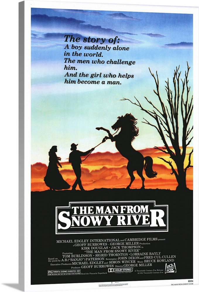 Large Solid-Faced Canvas Print Wall Art Print 20 x 30 entitled The Man From Snowy River (1982) Solid-Faced Canvas Print entitled The Man From Snowy River 1982.  Stunning cinematography highlights this otherwise fairly ordinary adventure story set in 1880s Australia. Jim Craig Burlinson is an orphaned young man coming of age in the mountains while seeking a life of his own and falling in love with the well-brought up Jessica Thornton. In a dual role, Douglas portrays battling brothers, one a rich landowner and the other a one-legged prospector. A wild horse roundup is a stunning highlight. Based on the epic poem by A.B. Banjo Paterson and followed by Return to Snowy River. A big hit in Australia and not directed by Mad Maxs Miller, but another Miller named George.  Multiple sizes available.  Primary colors within this image include Orange, Light Yellow, Dark Gray, Pale Blue.  Made in USA.  Satisfaction guaranteed.  Archival-quality UV-resistant inks.  Featuring a proprietary design, our canvases produce the tightest corners without any bubbles, ripples, or bumps and will not warp or sag over time.  Archival inks prevent fading and preserve as much fine detail as possible with no over-saturation or color shifting.