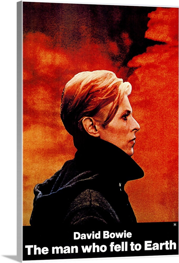 Large Gallery-Wrapped Canvas Wall Art Print 16 x 24 entitled The Man Who Fell to Earth (1976) Gallery-Wrapped Canvas entitled The Man Who Fell to Earth 1976.  Entertaining and technically adept cult classic about a man from another planet Bowie, in a bit of typecasting who ventures to earth in hopes of finding water to save his family and drought-stricken planet. Instead he becomes a successful inventor and businessman, along the way discovering the human vices of booze, sex, and television. Also available in a restored version at 138 minutes. Remade for TV in 1987 and based on Walter Teviss novel.  Multiple sizes available.  Primary colors within this image include Red, Orange, Dark Red, White.  Made in the USA.  All products come with a 365 day workmanship guarantee.  Inks used are latex-based and designed to last.  Canvas frames are built with farmed or reclaimed domestic pine or poplar wood.  Canvas is designed to prevent fading.