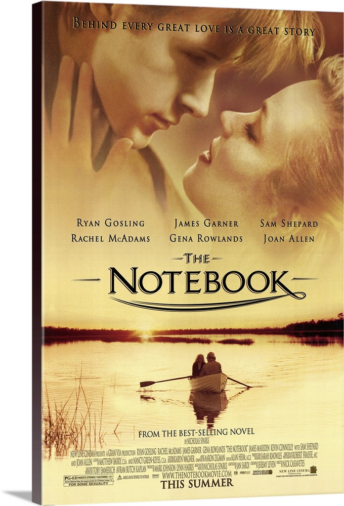 Large Solid-Faced Canvas Print Wall Art Print 24 x 36 entitled The Notebook (2004) Solid-Faced Canvas Print entitled The Notebook 2004.  A poor and passionate young man falls in love with a rich young woman and gives her a sense of freedom. They soon are separated by their social differences.  Multiple sizes available.  Primary colors within this image include Peach, Dark Forest Green.  Made in USA.  Satisfaction guaranteed.  Archival-quality UV-resistant inks.  Archival inks prevent fading and preserve as much fine detail as possible with no over-saturation or color shifting.  Canvas depth is 1.25 and includes a finished backing with pre-installed hanging hardware.