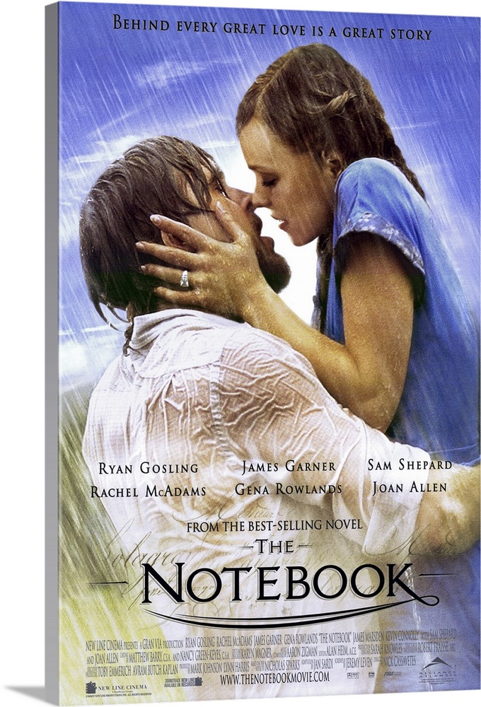 Large Solid-Faced Canvas Print Wall Art Print 24 x 36 entitled The Notebook (2004) Solid-Faced Canvas Print entitled The Notebook 2004.  A poor and passionate young man falls in love with a rich young woman and gives her a sense of freedom. They soon are separated by their social differences.  Multiple sizes available.  Primary colors within this image include Black, Light Gray, White, Royal Blue.  Made in the USA.  Satisfaction guaranteed.  Inks used are latex-based and designed to last.  Featuring a proprietary design, our canvases produce the tightest corners without any bubbles, ripples, or bumps and will not warp or sag over time.  Canvas is handcrafted and made-to-order in the United States using high quality artist-grade canvas.
