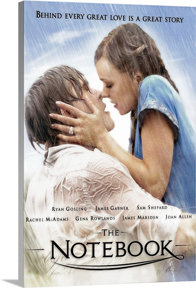 Large Solid-Faced Canvas Print Wall Art Print 24 x 36 entitled The Notebook (2004) Solid-Faced Canvas Print entitled The Notebook 2004.  A poor and passionate young man falls in love with a rich young woman and gives her a sense of freedom. They soon are separated by their social differences.  Multiple sizes available.  Primary colors within this image include Sky Blue, Black, Light Gray, White.  Made in USA.  Satisfaction guaranteed.  Archival-quality UV-resistant inks.  Canvas is handcrafted and made-to-order in the United States using high quality artist-grade canvas.  Canvas depth is 1.25 and includes a finished backing with pre-installed hanging hardware.