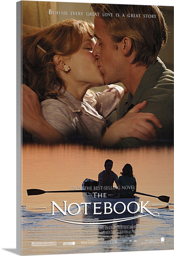 Large Solid-Faced Canvas Print Wall Art Print 24 x 36 entitled The Notebook (2004) Solid-Faced Canvas Print entitled The Notebook 2004.  A poor and passionate young man falls in love with a rich young woman and gives her a sense of freedom. They soon are separated by their social differences.  Multiple sizes available.  Primary colors within this image include Peach, Black, White, Gray Blue.  Made in the USA.  Satisfaction guaranteed.  Archival-quality UV-resistant inks.  Canvas is handcrafted and made-to-order in the United States using high quality artist-grade canvas.  Archival inks prevent fading and preserve as much fine detail as possible with no over-saturation or color shifting.